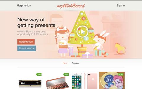 Screenshot of Home Page mywishboard.com - Wishlist is an online wish board. Create your wish diary and list! - captured Aug. 2, 2017