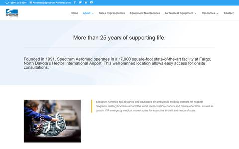 Screenshot of About Page spectrum-aeromed.com - Spectrum Aeromed | Over 28 Years of Supporting Life - captured Aug. 12, 2019