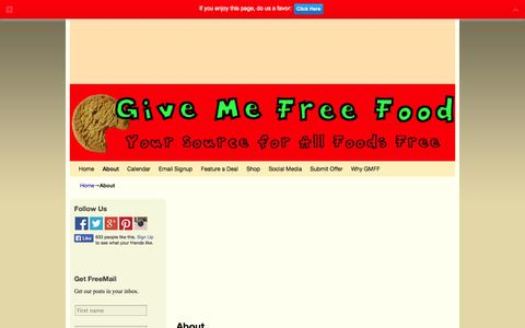 Screenshot of About Page givemefreefood.com - About | Give Me Free Food - captured Sept. 26, 2014