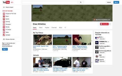 Screenshot of YouTube Page youtube.com - Draz Athletics  - YouTube - captured Oct. 23, 2014