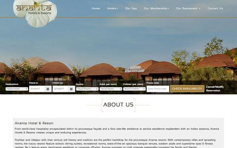 Screenshot of About Page anantahotels.com - About Us - Ananta Hotels & Resorts - captured July 1, 2017