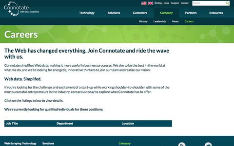 Screenshot of Jobs Page connotate.com - Careers | Connotate | Web Data. Simplified. - captured Oct. 10, 2014