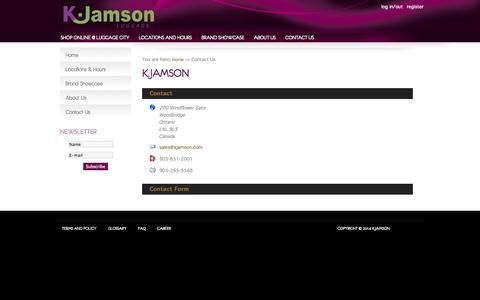 Screenshot of Contact Page kjamson.com - Contact Us - K.Jamson - captured Oct. 31, 2014