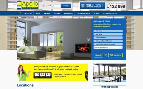 Screenshot of Contact Page Locations Page apolloblinds.com.au - Locations of all our Apollo Blinds stores in Australia - captured Feb. 6, 2016