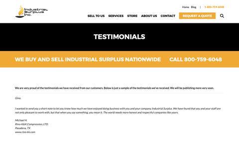 Screenshot of Testimonials Page industrialsurplusworld.com - Testimonials - captured Nov. 6, 2018