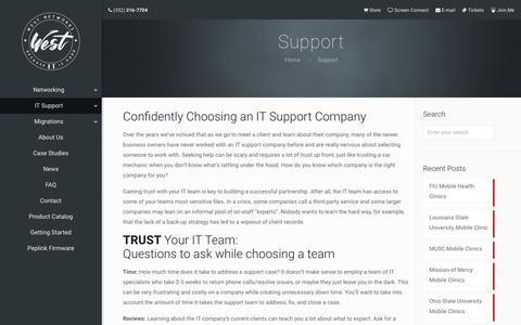 Screenshot of Support Page westnetworks.com - Support - West Networks - captured Nov. 15, 2017