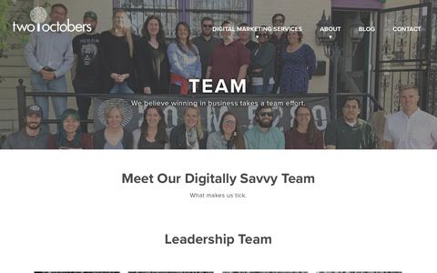 Screenshot of Team Page twooctobers.com - The Team (and the office dogs) | Two Octobers - captured Sept. 21, 2018