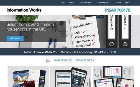Screenshot of Home Page informationworks.co.uk - Information Works - captured Aug. 5, 2016