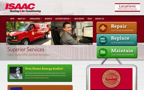Screenshot of Home Page isaacheating.com - Isaac Heating & Air Conditioning - captured Jan. 28, 2015