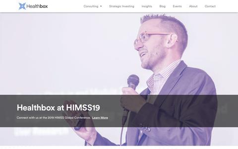 Screenshot of Home Page healthbox.com - Innovative Healthcare Advisory Firm | Healthcare Consulting | Healthbox - captured Feb. 20, 2019