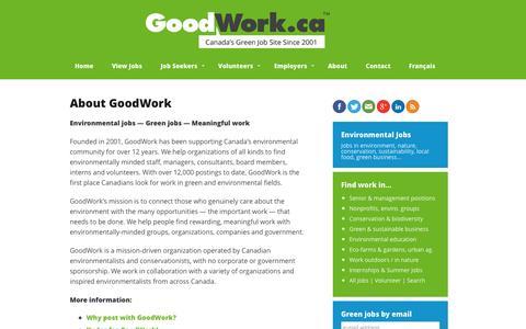 Screenshot of About Page goodwork.ca - GoodWork.ca: environmental jobs, conservation jobs, nature jobs - captured Sept. 23, 2014
