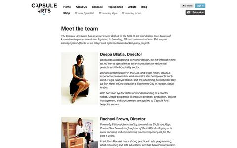 Screenshot of Team Page capsulearts.com - Capsule Arts - Meet the Team - captured Sept. 29, 2014