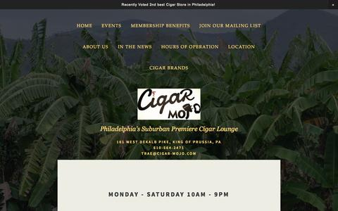 Screenshot of Hours Page cigar-mojo.com - Hours of Operation — Cigar Mojo - captured Sept. 29, 2014