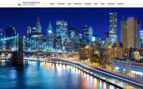 Screenshot of Home Page metamorphic.vc - Metamorphic Ventures - captured Sept. 19, 2014