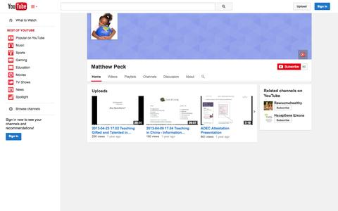 Screenshot of YouTube Page youtube.com - Matthew Peck  - YouTube - captured Oct. 26, 2014