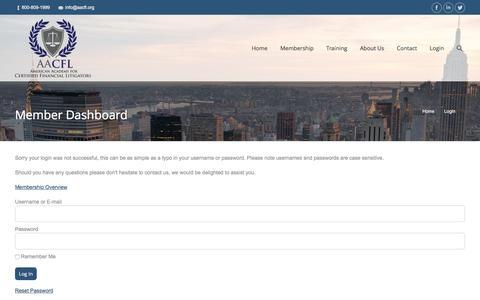 Screenshot of Login Page aacfl.org - Member Dashboard - AACFL - captured May 28, 2017