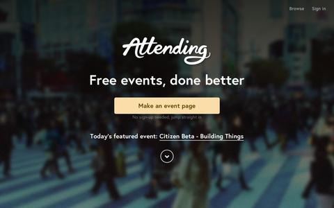 Screenshot of Home Page attending.io - Attending — Free events, done better - captured Feb. 25, 2016