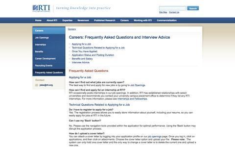 Screenshot of FAQ Page rti.org - RTI International: Careers: Frequently Asked Questions and Interview Advice - captured Sept. 19, 2014