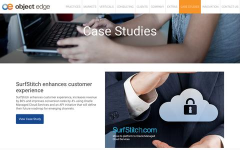 Screenshot of Case Studies Page objectedge.com - Oracle ATG Web Commerce Consulting & Services | Case Studies | Object Edge - captured Feb. 21, 2016