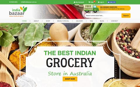 Screenshot of Home Page indiabazaar.com.au - India Bazaar | Online Grocery Shopping Australia - captured Nov. 26, 2016