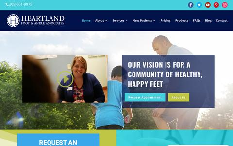 Screenshot of Home Page heartlandfootandankle.com - Your Family Podiatrist in Bloomington, IL | Heartland Foot & Ankle - captured Dec. 14, 2018