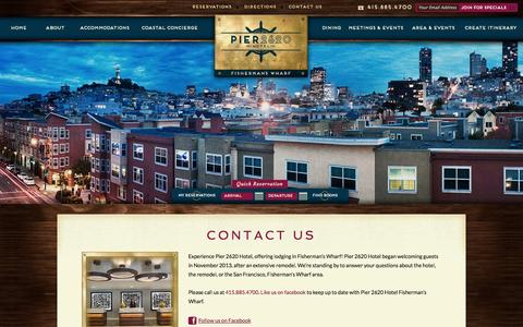 Screenshot of Contact Page pier2620hotel.com - Fisherman's Wharf Lodging | Pier 2620 Hotel | Lodging in Fisherman's Wharf - captured Oct. 2, 2014