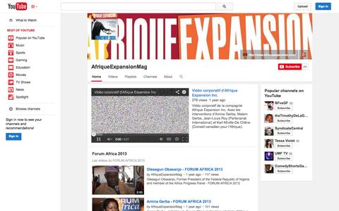 Screenshot of YouTube Page youtube.com - AfriqueExpansionMag  - YouTube - captured Oct. 23, 2014