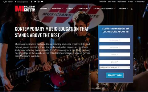 Screenshot of Home Page mi.edu - Music School & Education | College of Contemporary Music | Musicians Institute - captured Sept. 28, 2018
