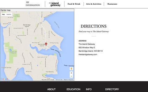 Screenshot of Maps & Directions Page theislandgateway.com - Directions to The Island Gateway, Hwy 305 and Winslow Way, Bainbridge Island, WA | Island Gateway - captured Feb. 25, 2016