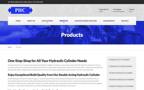 Screenshot of Products Page phc-global.com - Custom Hydraulic Cylinders For Sale | Single & Double Acting Hydraulic Cylinder | Tie Rod, Welded & Hydraulic Lift Cylinder - captured Nov. 10, 2016