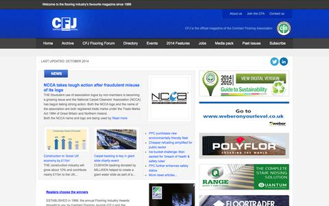 Screenshot of Home Page contractflooringjournal.co.uk - CFJ - Contract Flooring Journal | Trade magazine - captured Oct. 6, 2014