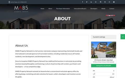 Screenshot of About Page mab5.com.au - About MAB5 - buying homes &property | MAB5 Property Network - captured Sept. 26, 2017