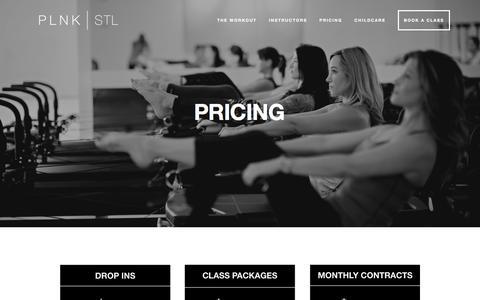 Screenshot of Pricing Page plnkstl.com - Pricing — PLNK   STL - captured July 10, 2018