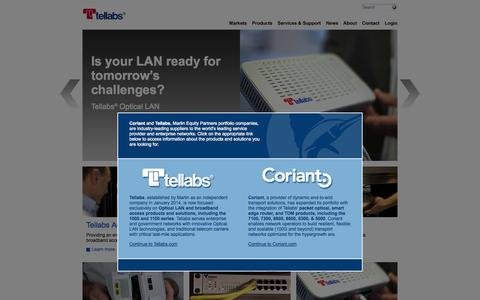 Screenshot of Contact Page wichorus.com - Tellabs | Optical LAN Networks | Telecom Access Networks - captured Oct. 25, 2014