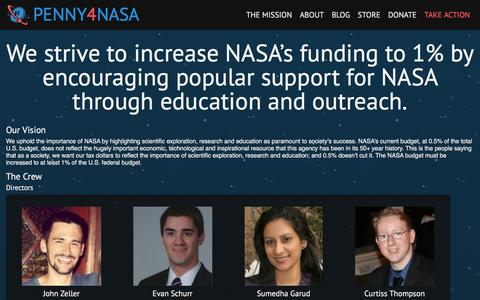 Screenshot of About Page penny4nasa.org - About Us | Penny4NASA - captured Dec. 8, 2015