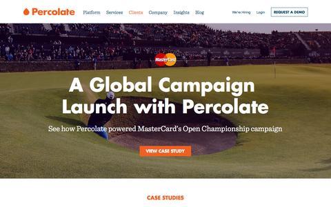 Screenshot of Case Studies Page percolate.com - Client Content Marketing Case Studies | Percolate - captured Nov. 17, 2015