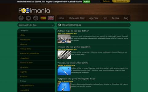 Screenshot of Blog poolmania.es - El portal de referencia en el mundo del billar - captured Sept. 30, 2014