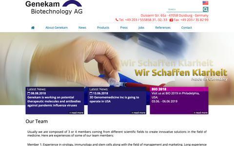 Screenshot of Team Page genekam.de - Our team - pcr - influenza - genekam - captured Sept. 27, 2018
