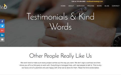 Screenshot of Testimonials Page webinkedesign.com - Kind Things Clients Have Said            | WebInke Design | A Simple Solutions Media Firm - captured Dec. 2, 2016