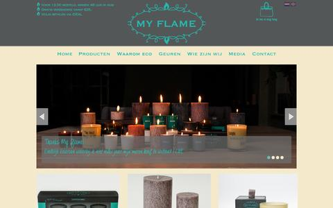 Screenshot of Home Page myflame.nl - Home-My Flame Lifestyle - kaarsen - captured Oct. 7, 2014