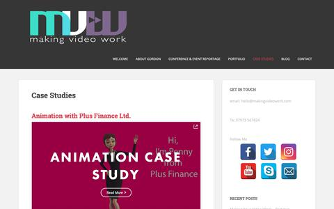 Screenshot of Case Studies Page makingvideowork.com - Case Studies * Making Video Work - captured Oct. 13, 2018