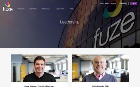 Screenshot of Team Page fuze.com - Leadership | Fuze - captured Jan. 20, 2018