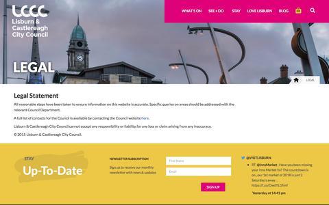 Screenshot of Terms Page visitlisburncastlereagh.com - Legal - Visit Lisburn & Castlereagh - captured Jan. 27, 2018