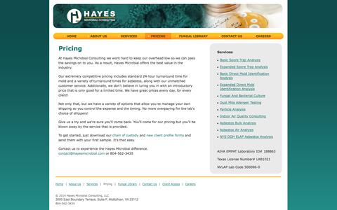 Screenshot of Pricing Page hayesmicrobial.com - Hayes Microbial Consulting - Pricing - captured Oct. 2, 2014
