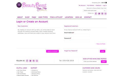Screenshot of Login Page beautybeastvirginhair.com - Customer Login - captured June 1, 2017