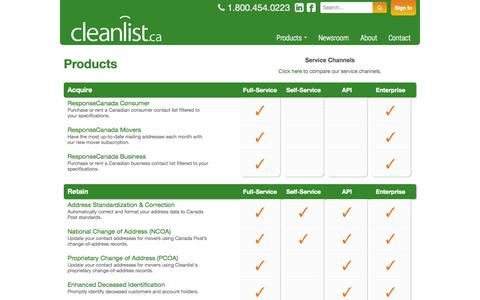 Screenshot of Products Page cleanlist.ca - Products - Cleanlist Canadian contact data solutions - captured Sept. 29, 2014