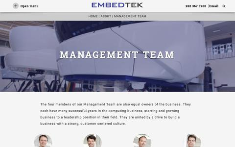 Screenshot of Team Page embedtek.net - Management Team - Embed Tek - captured Nov. 18, 2018