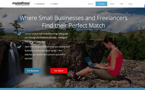 Screenshot of Home Page mystaffnow.com - MyStaffNow | Better Talent Matching For Your Business - captured Dec. 8, 2015