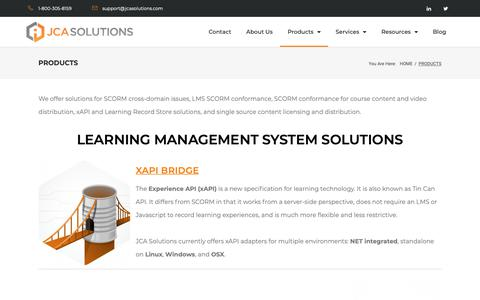 Screenshot of Products Page jcasolutions.com - Products - JCA Solutions - captured Nov. 5, 2018