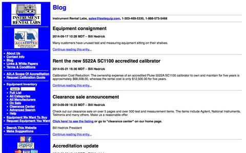 Screenshot of Blog testequip.com - Instrument Rental Labs Blog - captured Oct. 6, 2014
